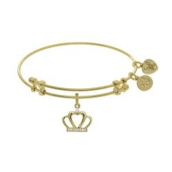 Brass with Yellow Cz Crown Charm On Yellow Angelic A Bangle