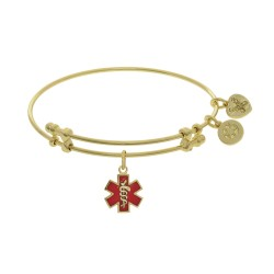 Brass with Red Enamel Caduceus Yellow Angelica Angelica Bangle