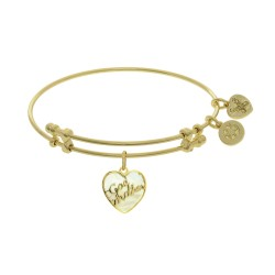 Brass with Godmother Heart Shaped Charm with Created Mop On Yellow Angelica Bangle