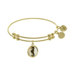 Brass with Oval Sea Horse with Black Cz On Created Mop On Yellow Angelica Bangle