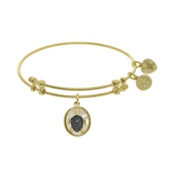 Brass with Oval Turtle with Black Cz with Created +Mop On Yellow Angelica Bangle