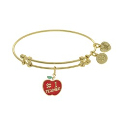 Brass with Enamel Teacher Charm On Yellow Angelica Bangle
