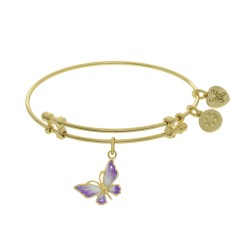 Brass with Yellow Butterfly Charm with White To Pink Fading Enamel On Yellow Bangle