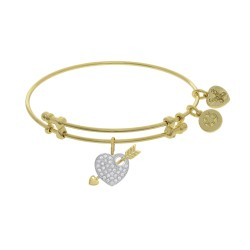 Brass with Yellow+White Heart with Arrow Charm On Yellow Angelica Bangle