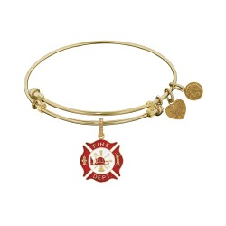 Non-Antique Yellow Stipple Finish Brass with Red+ White Enamel Fire-Fighter Angelica Bangle