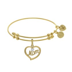 Brass with Yellow Finish Mom in Heart with Clear Cubic Zirconia Charm for Angelica Bangle
