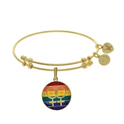 Brass with Yellow Finish LGBTQ Pride Enamel Charm for Angelica Bangle