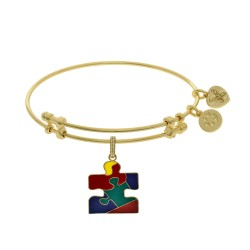 Brass with Yellow Finish Autism Awareness Enamel Charm for Angelica Bangle