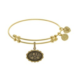Brass with Yellow Finish #1 Mom  Charm for Angelica Bangle