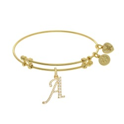 Brass with Yellow Finish  Initial A Charm for Angelica Bangle
