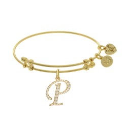 Brass with Yellow Finish  Initial P  Charm for Angelica Bangle