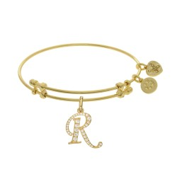 Brass with Yellow Finish  Initial R  Charm for Angelica Bangle