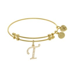 Brass with Yellow Finish  Initial T Charm for Angelica Bangle