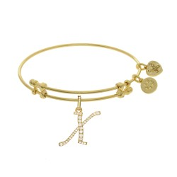 Brass with Yellow Finish  Initial X Charm for Angelica Bangle