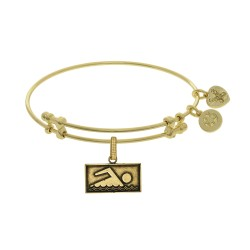 Brass with Yellow Finish Swimmer Angelica Bangle