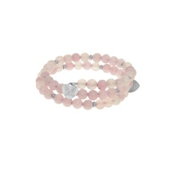Rose Quartz - Small Bangle - 50 mm Diameter with B Rass Elements