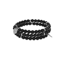 Black Onyx - Big Bangle - 55 mm Diameter with Bras S Elements