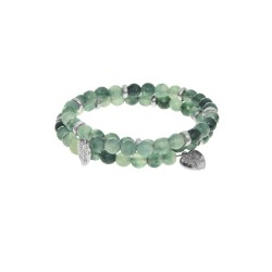 Jade (Cut; Green) - Small Bangle - 50 mm Diameter with Brass Elements