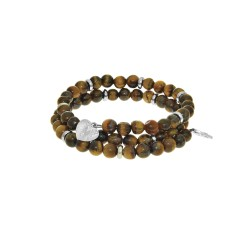 Tiger Eye - Small Bangle - 50 mm Diameter with Bra Ss Elements
