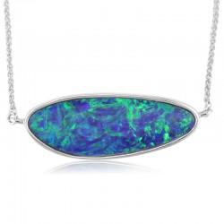 White Gold Austalian Opal Doublet Pendant