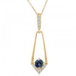 Montana Sapphire and Diamond Pendant
