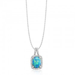 White Gold Australian Opal Pendant with chain