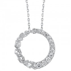 14K White Gold Bagg/Rds Round Pendant 3/8Ctw