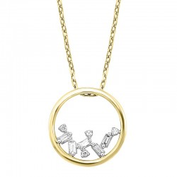14K Yellow Gold Scattered Bagg Dia Pendant  .05Ctw