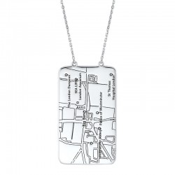 14K White Gold Rectangle Pendant