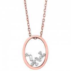 14K Rose Scattered Bagg Dia Pendant  .05Ct