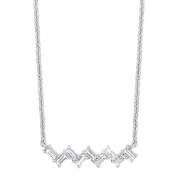 14K White Gold  Bagg  Necklace 1/5Ctw