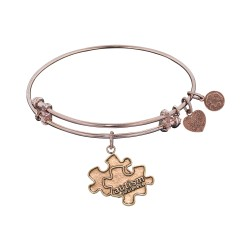 """Antique Pink Smooth Finish Brass Generation Rescue """"Autism"""" Angelica Bangle"""