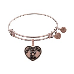 Brass with Pink Finish Proud Wife U.S. Marine Corps Heart Shaped Angelica Bangle
