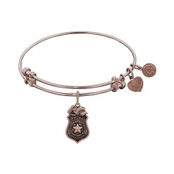 Brass Pink Finish Police Charm On Pink Angelica Bangle