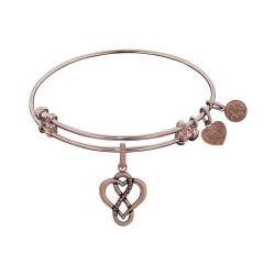 Brass Pink Finish Eternal Love Charm On Pink Angelica Bangle