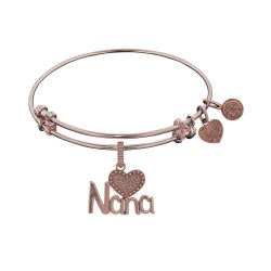 Brass Pink Finish Nana Charm On Pink Angelica Bangle