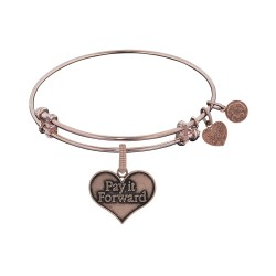 Brass Pink Finish Pay It Forward Charm On Pink Angelica Bangle