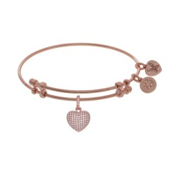 Brass with Pink Heart Charm with White Cz On Pink Angelica Bangle