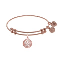 Brass with Pink Sanddollar Charm with White Cz On Pink Bangle