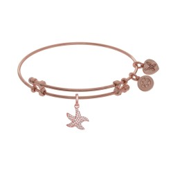 Brass with Pink Starfish Charm with White Cz On Pi Nk Bangle