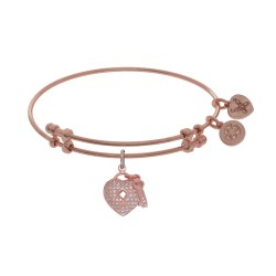 Brass with Pink Heart-Key Charm with White Cz On Pink Bangle