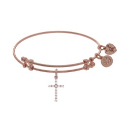 Brass with Pink Cross Charm with White Cz On Pink Bangle