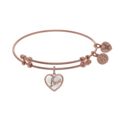 "Brass with Pink ""Love"" Heart Charm with Created Mother Of Pearl On Pink Bangle"