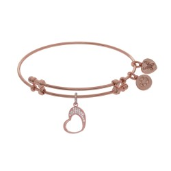 Brass with Pink Open Graduated Heart Charm On Pink Bangle