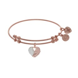 Brass with Pink+White Finish Heart Charm with Cz On Pink Angelica Bangle