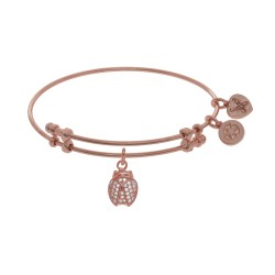 Brass with Pink Finish Charm with White Cz Ladybu G On Pink Angelica Bangle
