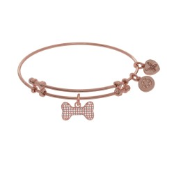 Brass with Pink Finish Charm with Whtie Cz Bone On Pink Angelica Bangle