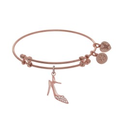 Brass with Pink High Heels Shoe Charm with Cz On Pink Angelica Bangle