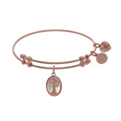 Brass with Pink Tree Of Life On Mop - Oval Charm On Pink Angelica Bangle