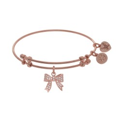 Brass with Pink Bow Charm with Cz On Pink Angelica Bangle
